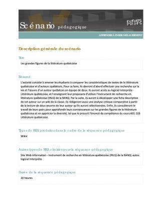 Document : Grandes figures de la littérature québécoise (Les)
