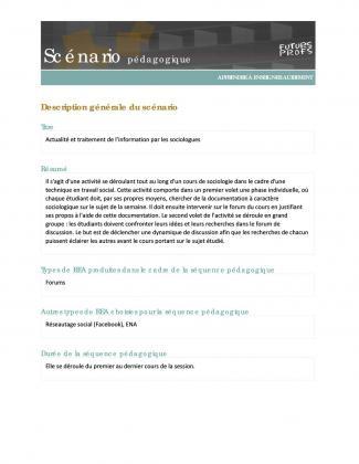 Document : Actualité et traitement de l'information par les sociologues