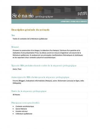 Document : Textes et contextes de la littérature québécoise