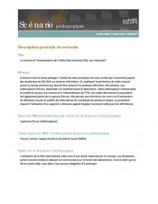 Document : Mesure et l'interprétation de l'indice tibio-brachial (ITB), une nécessité? (La)