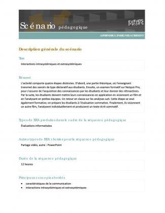 Document : Interactions intrasystémiques et extrasystémiques