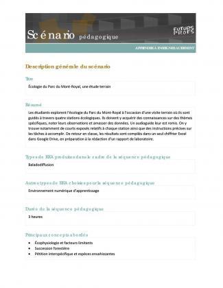 Document : Écologie du Parc du Mont-Royal, une étude terrain