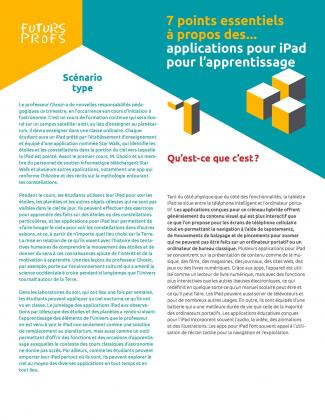 Document : Applications pour iPad pour l'apprentissage - 7 points essentiels